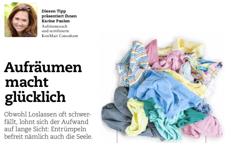 Aufräumen macht glücklich –  Domicil Zeitung
