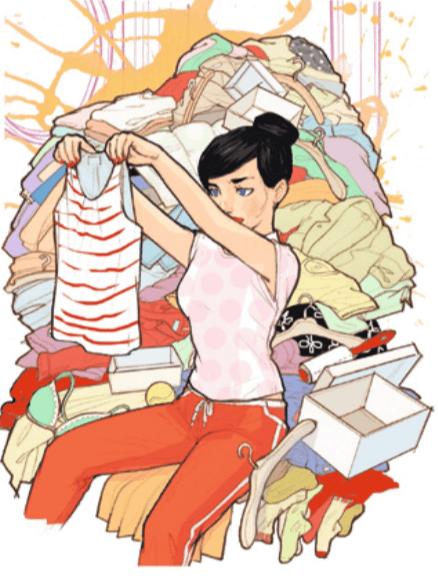 Illustration mit einer Frau vor einem Kleiderberg, die ein Top in der Hand hält